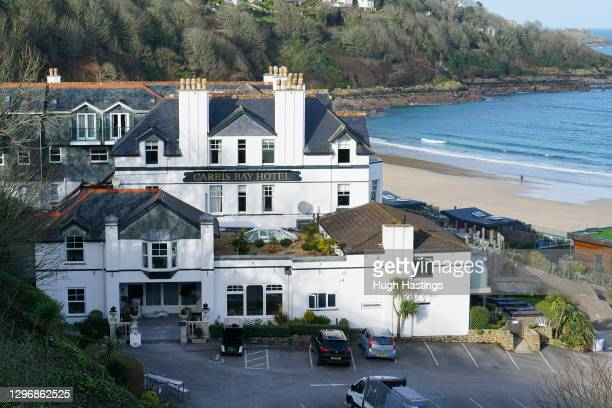 General view of the Carbis Bay Hotel, host venue for the 2021 G7 Summit, on January 17, 2021 in Carbis Bay, Cornwall. The June summit will be the...