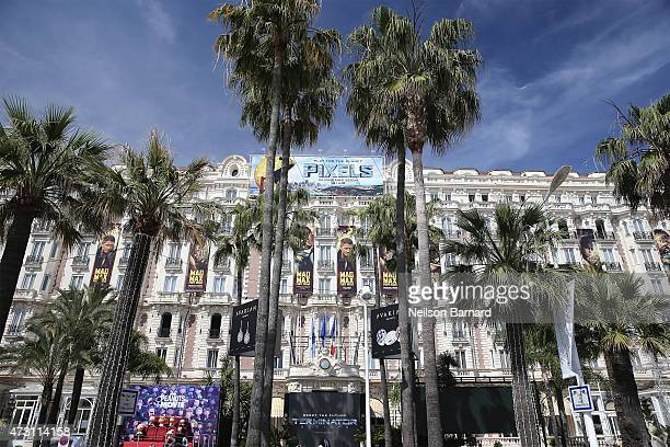 A general view of the Carlton Hotel ahead of the 68th annual Cannes Film Festival on May 12 2015 in Cannes France