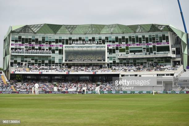 General view of the Carnegie Pavilion on the first day of the second Test cricket match between England and Pakistan at Headingley cricket ground in...