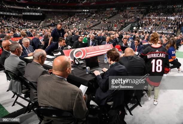 A general view of the Carolina Hurricanes draft table is seen during the first round of the 2018 NHL Draft at American Airlines Center on June 22...