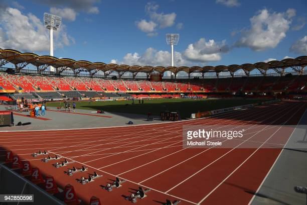 General view of the Carrara Stadium venue of the athletics on day three of the Gold Coast 2018 Commonwealth Gamesm on April 7 2018 on the Gold Coast...