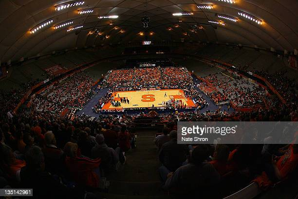 General view of the Carrier Dome from the stands at half court during the game between the Syracuse Orange and the Marshall Thundering Herd at the...