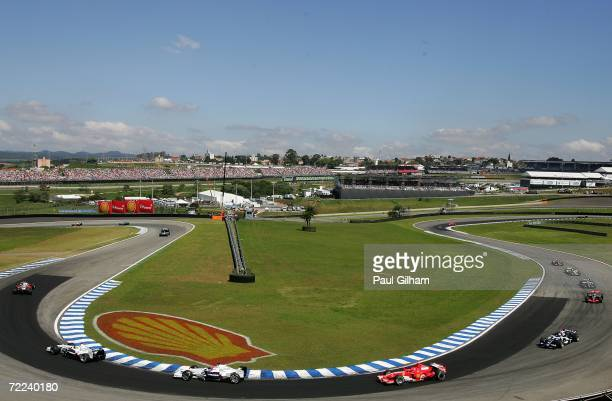A general view of the cars on the parade lap prior to the start of the Brazilian Formula One Grand Prix at the Autodromo Interlagos on October 22...