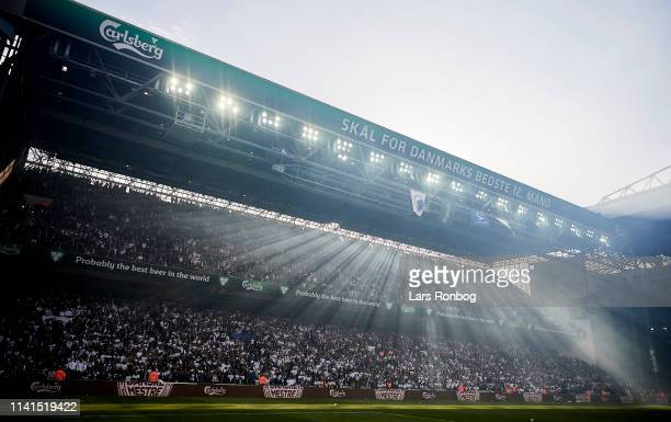 General view of the Carslberg C stand after the Danish Superliga match between FC Copenhagen and Brondby IF at Telia Parken Stadium on May 5 2019 in...