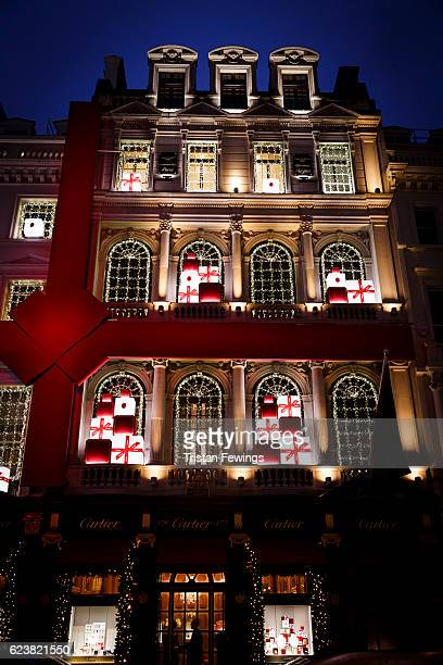 A general view of the Cartier store Christmas lights and display in Bond Street in the lead up to Christmas on November 16 2016 in London England