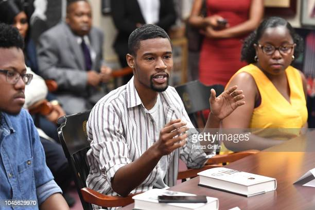 A general view of the cast 'The Hate U Give' inteviewing with student journalists during Atlanta University Center press junket at Morehouse College...