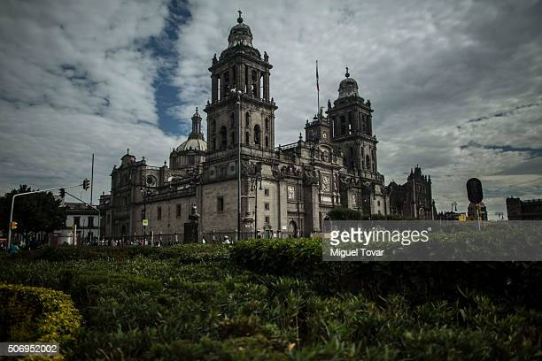 General view of the Catedral Metropolitana at Plaza de la Constitucion on January 26, 2016 in Mexico City, Mexico. This church will host Pope Francis...