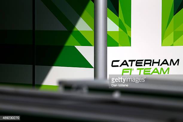 General view of the Caterham garage during previews ahead of the Abu Dhabi Formula One Grand Prix at Yas Marina Circuit on November 19, 2014 in Abu...