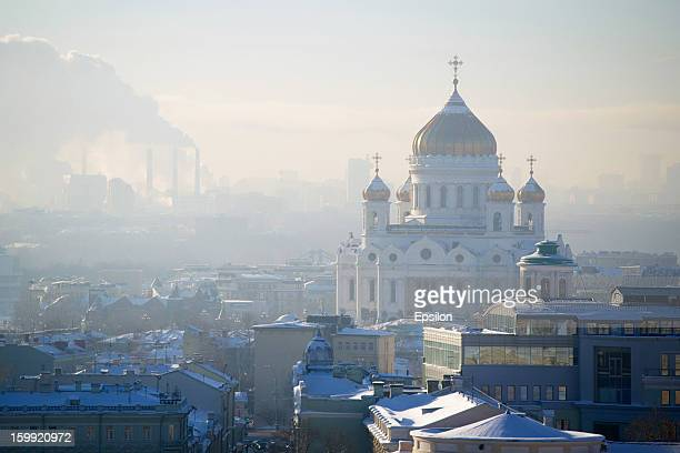A general view of the Cathedral of Christ the Saviour on January 23 2013 in Moscow Russia