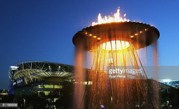 General view of the cauldron used at the Sydney 2000 Olympic Games is seen in front the Sydney Olympic Stadium before the round twenty one AFL match...
