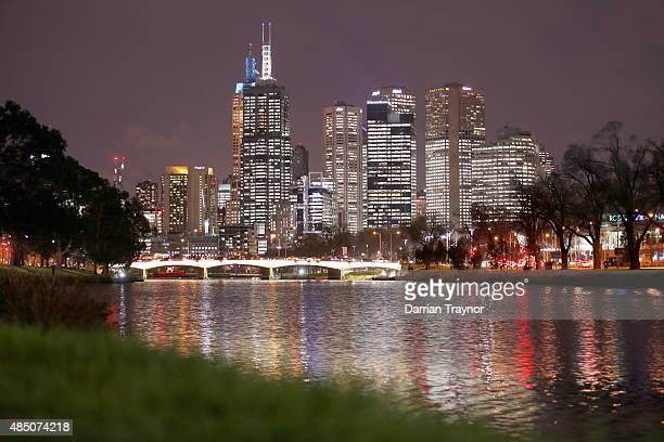 A general view of the CBD from the south bank of the Yarra River on August 24 2015 in Melbourne Australia