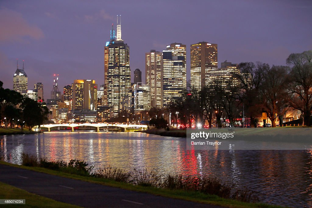 A general view of the CBD from the south bank of the Yarra River on August 24, 2015 in Melbourne, Australia.