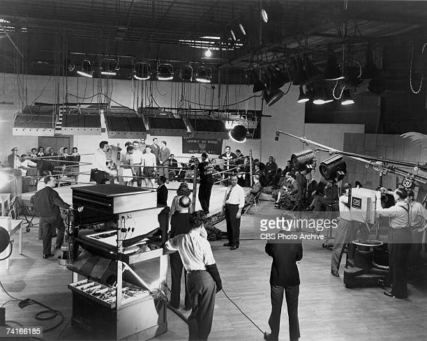 General view of the CBS television studio in the Grand Central Terminal during the filming of an amateur juvenile boxing match New York New York 1946...