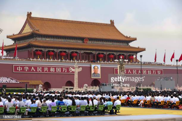 General view of the celebration marking the 100th anniversary of the founding of the Chinese Communist Party at Tiananmen Square on July 1, 2021 in...