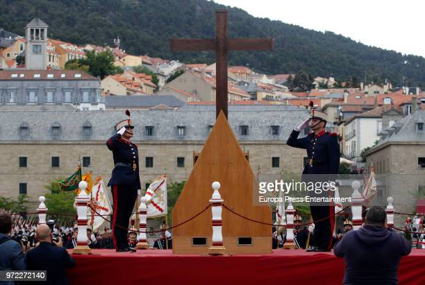 General view of the celebration of the Real and Military Order of San Hermenegildo at Real Monasterio De San lorenzo presided by King Felipe of Spain...
