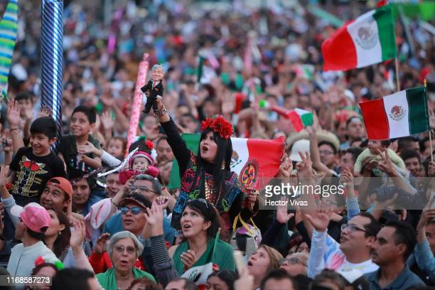 General view of the celebrations of Mexico's Independence Day at Zocalo on September 15 2019 in Mexico City Mexico This event also known as 'El...
