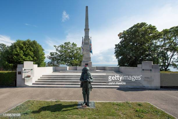 General view of the cenotaph war memorial with bronze statue of a First World War soldier by artist and sculptor, Dave Taylor on June 13, 2020 in...