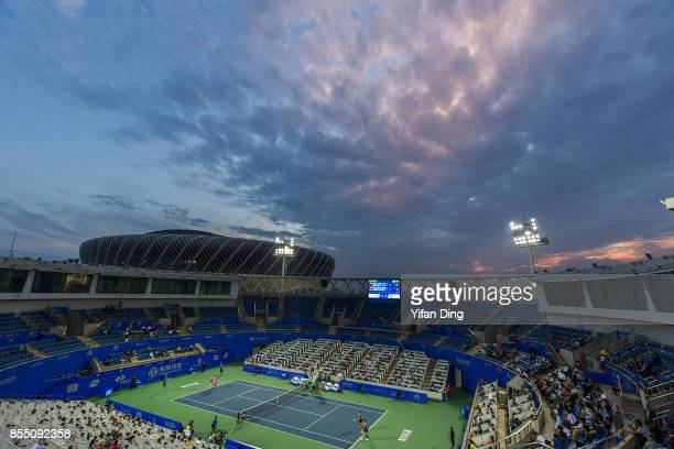 A general view of the center court and court 1 of Optics Valley International Tennis Center during the ladies doubles quarterfinal between Peng Shuai...