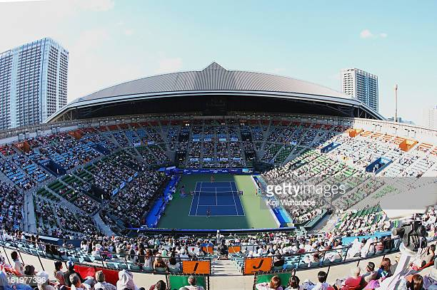 General view of the center court during practice before women's singles semi final match between Petra Kvitova of Czech Republic and Venus Williams...