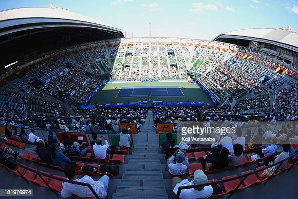 General view of the center court during women's singles semi final match between Petra Kvitova of Czech Republic and Venus Williams of the United...