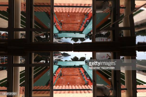 General view of the Center Court Rainier III during the Mens Doubles Final match between Daniel Evans and Neal Skupski of Great Britain against...