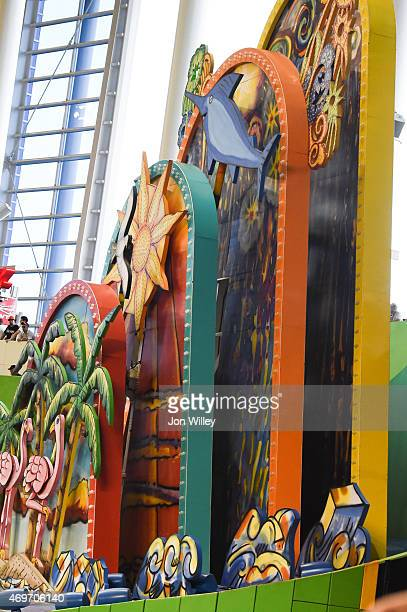 A general view of the center field art installation at Marlins Park during the game between the Atlanta Braves and the Miami Marlins on Monday April...