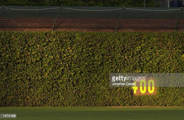 General view of the center field wall before the MLB game between the Cincinnati Reds and the Chicago Cubs on September 24, 2002 at Wrigley Field in...