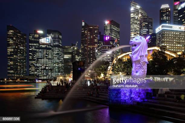 A general view of the Central Business District and the Merlion illuminated with a projection during the iLight Marina Bay on March 23 2017 in...