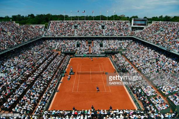General view of the central court as Spain's Rafael Nadal and Switzerland's Stanislas Wawrinka play the men's final tennis match at the Roland Garros...
