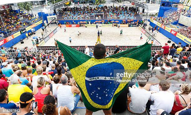 General view of the central court during the mens final match between Poland and Brazil at Copacabana beach during day six of the FIVB Beach...