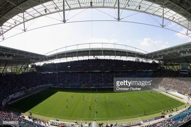 General view of the central stadium during the DFB German Cup match between FC Sachsen Leipzig and Dynamo Dresden at the Zentral Stadium on August 21...