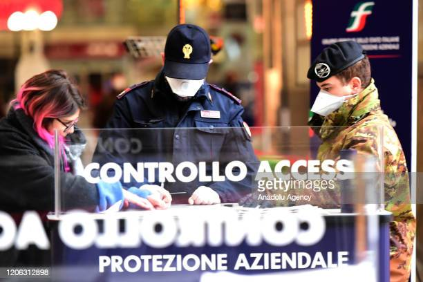 General view of the central station during the military and police checks during the coronavirus outbreak on March 09, 2020 in Milan, Italy. Prime...