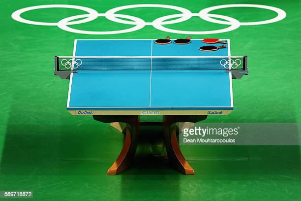 A general view of the centre court and match table as Ning Ding and Liu Shiwen of China compete against Yihan Zhou and Tianwei Feng of Singapore...