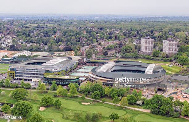 A general view of the Centre Court and Number One Court at the All England Lawn Tennis Croquet Club home of The Championships Wimbledon on May 01...