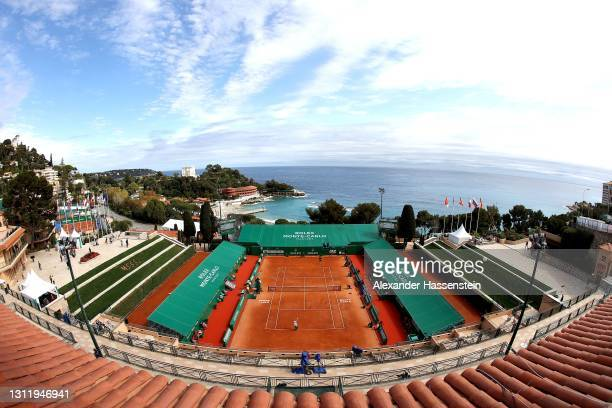 General view of the Centre Court Court Rainier III with the Monte Carlo Beach in the Background during the 1st round match between Jordan Thompson of...