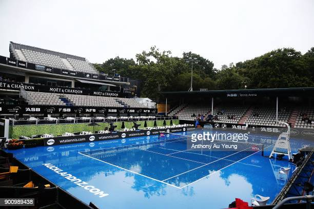 General view of the centre court during a major rain delay on day four of the ASB Women's Classic at ASB Tennis Centre on January 4 2018 in Auckland...