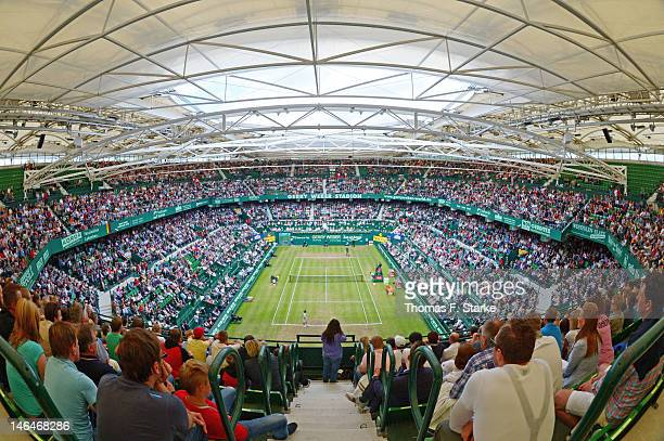 A general view of the centre court during the final match between Roger Federer of Switzerland and Tommy Haas of Germany during day seven of the...