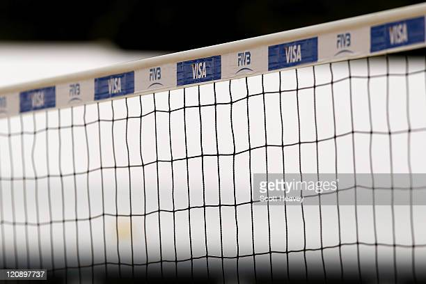 A general view of the centre court net prior to the VISA FIVB Beach Volleyball International at Horse Guards Parade on August 12 2011 in London...