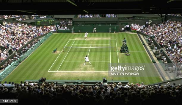 General view of the Centre Court where Croatian player Goran Ivanisevic is playing Marat Safin of Russia in the quarter finals at the All England...