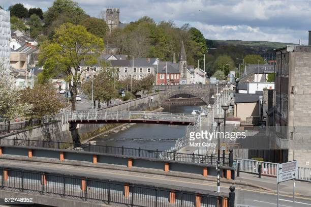 A general view of the centre of Bridgend is seen on April 25 2017 in Bridgend Wales The British Prime Minister Theresa May's visit to South Wales...