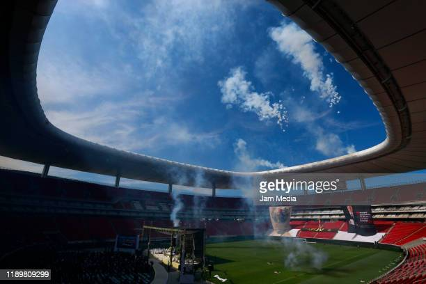 General view of the ceremony during a mass in memory of former owner of Chivas Jorge Vergara at Akron Stadium on November 24 2019 in Zapopan Mexico