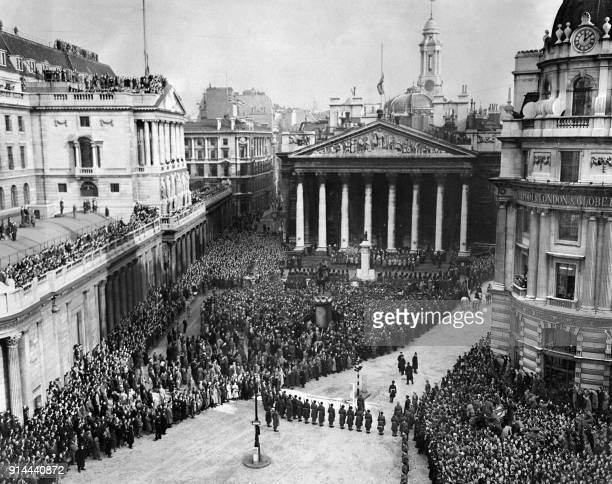 General view of the ceremony of the proclamation of Queen Elizabeth II's accession to the throne 08 February 1952 in London Queen Elizabeth II was...