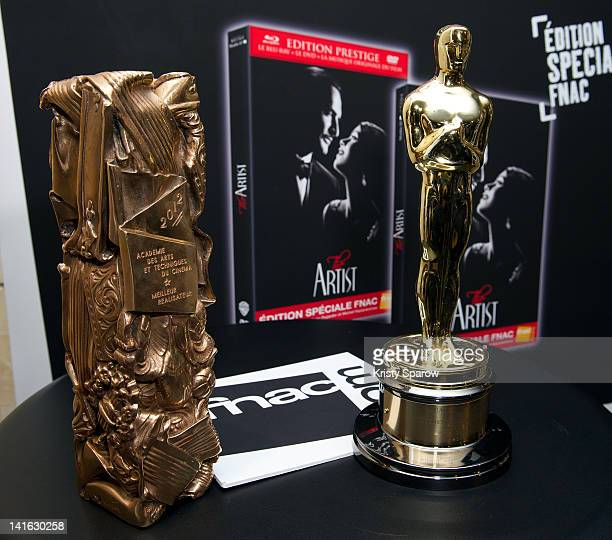 A general view of the Cesar Award and Oscar Statue won by Director Michel Hazanavicius for the movie 'The Artist' during 'The Artist' DVD signing...