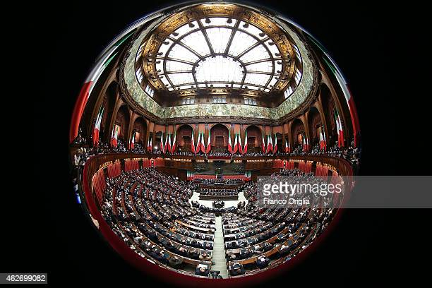A general view of the Chamber of Deputies as newly elected President of Republic Sergio Mattarella delivers his first speech to the Italian...