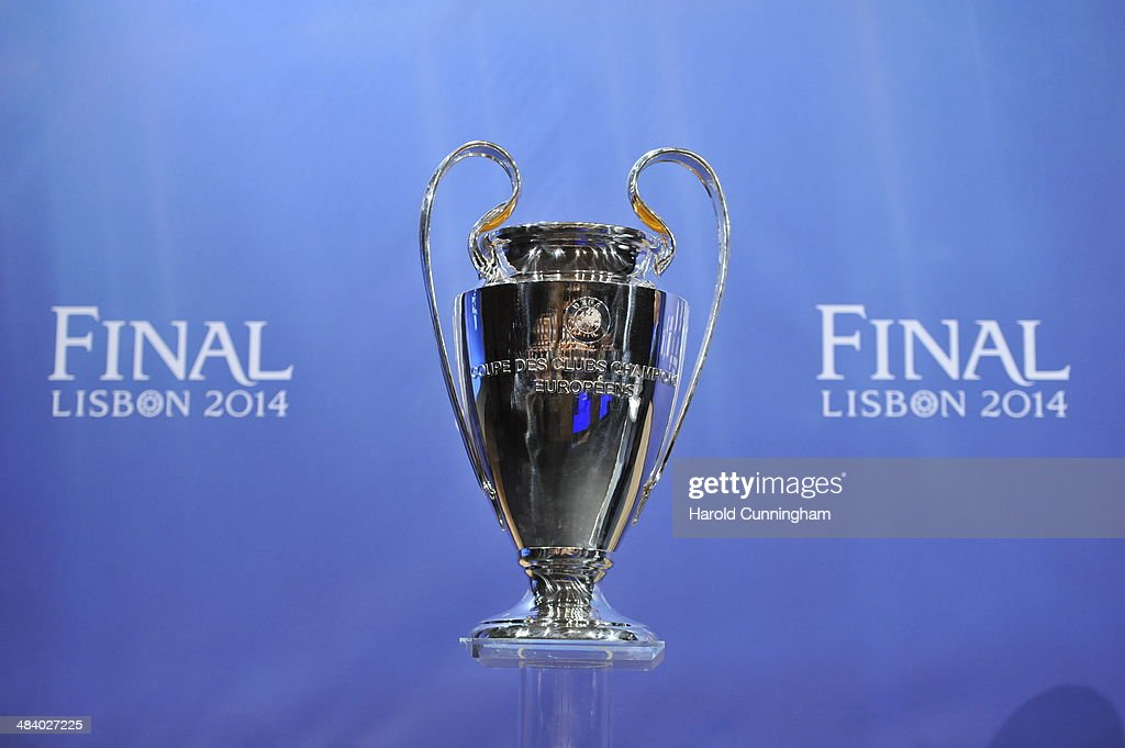 A general view of the Champions League trophy during the UEFA Champions League 2013/14 season semi-finals draw at the UEFA headquarters, The House of European Football, on April 11, 2014 in Nyon, Switzerland.