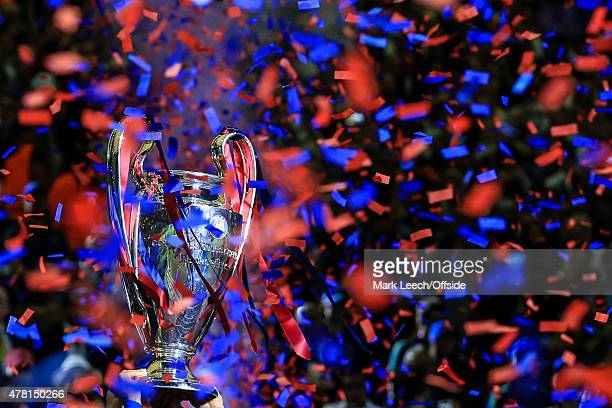 General view of the Champions League trophy surrounded by blue and red ticker tape during the UEFA Champions League Final between Juventus and FC...