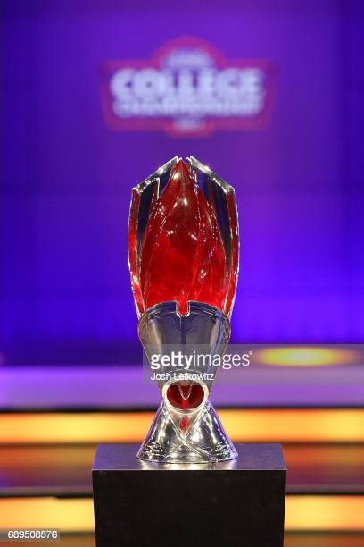 A general view of the championship trophy during the Maryville University and the University of Toronto League of Legends College Championship at the...