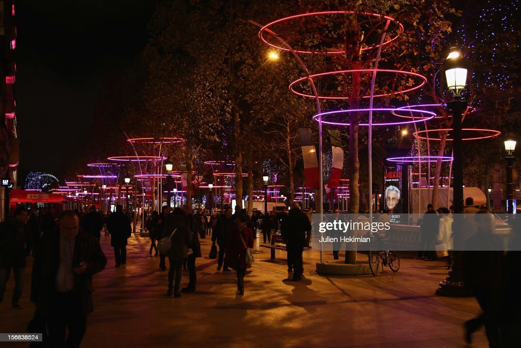 A general view of the Champs-Elysees Christmas illuminations on November 22, 2012 in Paris, France.