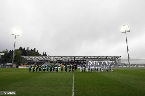 General view of the Chance Arena, home of FK Jablonec taken as the two teams line up during the Czech First League match between FK Jablonec and SK...