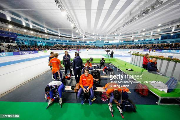 A general view of the change area with Hein Otterspeer of the Netherlands looking on after he competes in the Mens 500m race on day two during the...